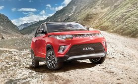 Mahindra KUV100 Exterior Front Look red color off road