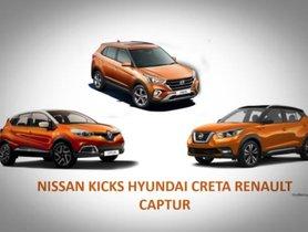 2019 Nissan Kicks vs Hyundai Creta and Renault Captur: Specifications comparison