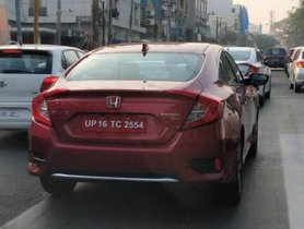 Red and White Top-spec 2019 Honda Civic ZX spied in Bangalore