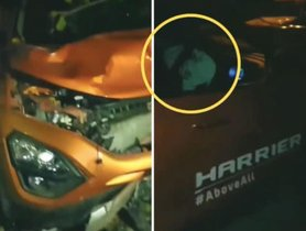 Another demo vehicle of Tata Harrier meets with an accident