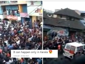 Kerala: Huge dancing crowd swiftly makes way for ambulance [Video]