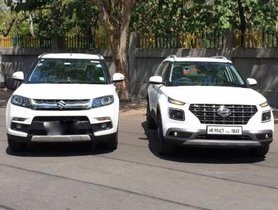 Hyundai Venue And Maruti Vitara Brezza Caught Standing Side By Side For The First Time