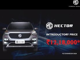 MG Hector Launched In India At Rs 12.18 Lakh