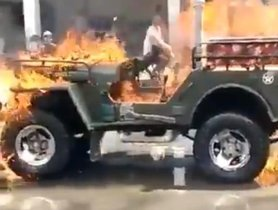 Man Sets His Jeep On Fire For Viral Tik Tok Video