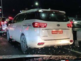 Kia Carnival MPV spotted On Test Alongside Toyota Innova Crysta