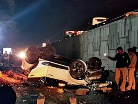 Tata Nexon Lands Upside Down After Falling From a Flyover, All Occupants Safe