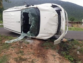 Ford Ecosport Meets With A Massive Accident, Driver Escapes Without a Scratch!