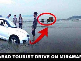 Watch a Mahindra Thar rescue a Maruti Swift stuck at a Goa beach