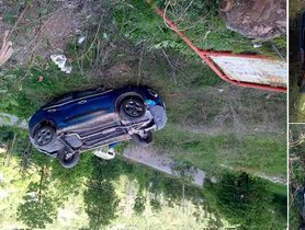 Tata Nexon Falls Into a 20 Feet Deep Ditch, Occupant Unhurt