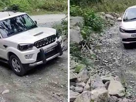 Watch Mahindra Scorpio FAIL on a Bad Road While Tata Tiago Easily Clears It