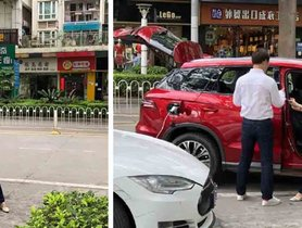 Chinese BYD Song Seen Charging Tesla Model S