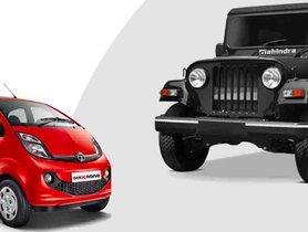 Tata Nano to Mahindra Thar - 5 Iconic Cars Discontinued In 2019