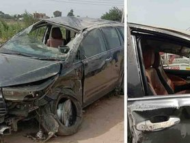 Toyota Innova Crysta Rolls Over Thrice After Hitting a Hyundai Santro, Occupants Safe Even After Airbags Fail To Deploy