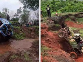 Check Out Maruti Gypsy and Mahindra Thar in AXLE BENDING Off Road Action