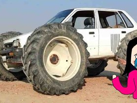 POOR Maruti 800 Modified To Run On Tractor Tyres
