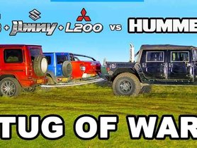 Watch Suzuki Jimny Help Mercedes G63 AMG and Mitsubishi LS200 in Tug of War with Hummer H1