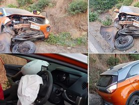 Tata Nexon (5-star NCAP) Crushed Between Rock And Another Vehicle, All Passenger Safe