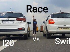 Hyundai Elite i20 Vs Maruti Swift In A Drag Race