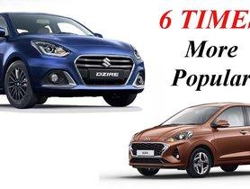 Maruti Dzire More Than 6 Times More Popular Than Hyundai Aura In May 2020