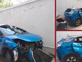 Old Tata Nexon TOTALLED In A High Speed Crash, Passengers Walk Out Safely