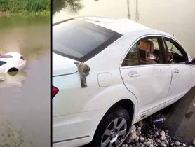 Couple Uses Sunroof To Escape Sinking Mercedes S-Class