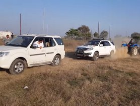 Tata Safari Strome & Toyota Fortuner In Tug Of War With Tractor - VIDEO