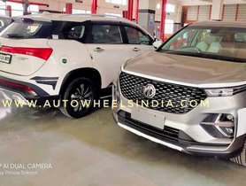 MG Hector Plus (6-seater Hector) Spied At Dealership Ahead Of Its Launch