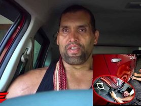 The Great Khali Struggles To Fit Inside Toyota Glanza [VIDEO]