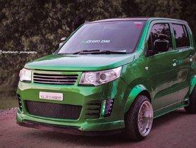 Modified Maruti WagonR Looks Like A Green Goblin