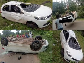 Tata Tiago Loses Control At 100 KMPH, Rolls Over For 80m, All Passengers Safe
