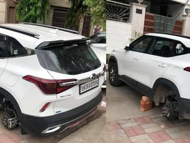 Thieves Make Away with Alloy Wheels of 2 Kia Seltos, Here's How You Can Protect Your Car