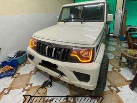 Modified Mahindra Bolero Facelift Looks Mean With Custom Orange DRLs