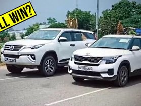 Kia Seltos Vs Toyota Fortuner in a Drag Race - Can You Guess the Winner?