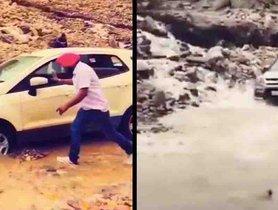 Maruti Vitara Brezza Outperforms Ford EcoSport at Crossing Water Streams In Ladakh