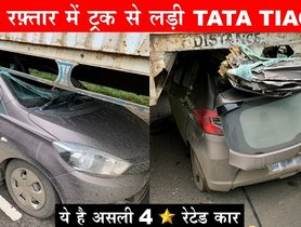 Tata Tiago Crashes into a Truck, Roof Ripped but All Occupants Safe
