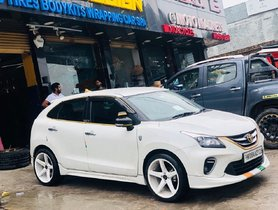 Modified Toyota Glanza (re-purposed Maruti Baleno) Looks Dope With 18-inch Alloy Wheels