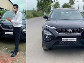 Son in UK Surprises Parents by Gifting Them a Tata Harrier Dark Edition - Emotions Galore