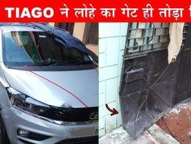 New Tata Tiago Hits a Solid Metal Gate, Suffers Minimal Damage