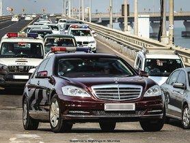 Ambani's Mercedes S600 L Seen with Mahindra Scorpio and BMW X5 Security Cars