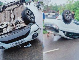 5-star Tata Nexon Overturns Twice, Driver Walks Out Scratchless