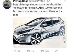 Design Maestro Pratap Bose Tweets a Neat Marker Rendering of Tata Altroz