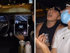 Witless Tesla Owner Lets Autopilot Drive, Consumes Alcohol In the Back Seat