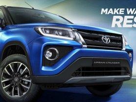 Toyota Urban Cruiser (Re-purposed Vitara Brezza) Launch Confirmed For September 23