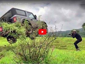 Watch New Mahindra Thar Executing A RISKY Jump - Video