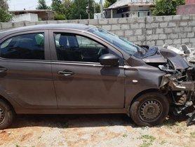 Tata Tiago (4-star NCAP) Involved in a High-Speed Crash, Keeps Everyone Safe