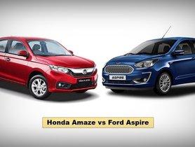 Honda Amaze vs Ford Aspire Comparison: Design, Features, Space, Performance & Price