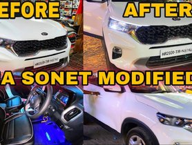 Kia Sonet HTK+ Gets LED DRLs & Ambient Lighting Via Aftermarket Route