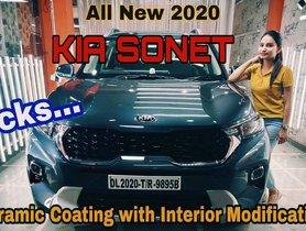 This Kia Sonet HTK+ Gets Custom Leather-trimmed Interior & Ceramic Coating