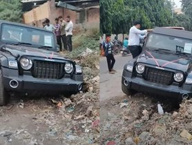 New Mahindra Thar 4x4 Stuck In Roadside Garbage, Rescued By NuvoSport