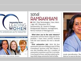 Sonal Ramrakhiani From Tata Technologies Among Top 100 Leading Women in North American Auto Industry